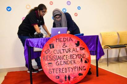 Social Media Counter at MCRAW 2016 themed, 'Media & Cultural Resistance: Beyond Gender Stereotyping' where students made live updates on different social media platforms about the event.